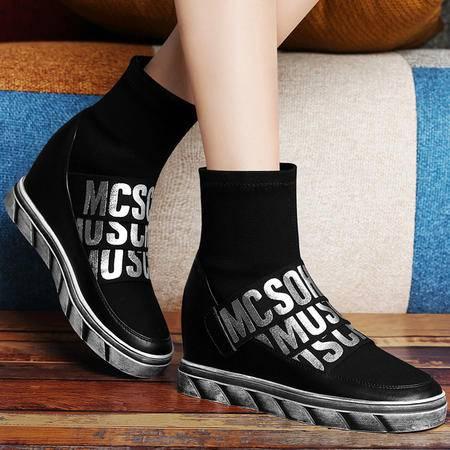 古奇天伦秋季新款内增高女鞋马丁靴潮短靴女靴平底休闲鞋时尚字母单靴