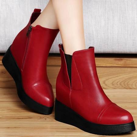 古奇天伦秋冬英伦内增高单靴坡跟女靴铆钉马丁靴圆头厚底防水台短靴女鞋
