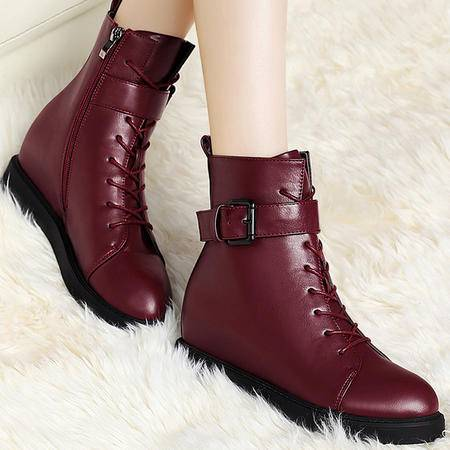 古奇天伦秋冬季加绒保暖雪地靴平跟系带马丁靴内增高金属扣女靴子短筒靴