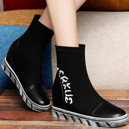 古奇天伦秋冬高帮鞋休闲女靴子内增高字母鞋保暖弹力布女鞋短靴