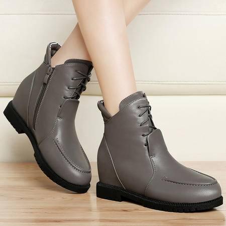 古奇天伦秋冬加绒保暖女靴子平底女鞋马丁靴内增高短靴时尚棉靴及踝靴雪地靴