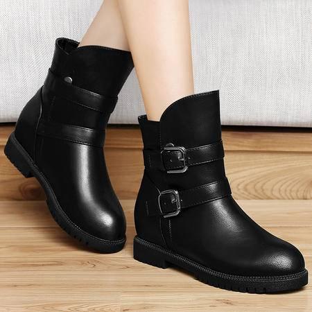 古奇天伦秋冬加绒保暖平底内增高鞋雪地靴女短靴女靴子短筒马丁靴女鞋