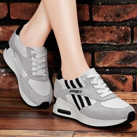 百年纪念秋季新款系带休闲女鞋真皮运动鞋厚底平跟单鞋气垫跑步鞋