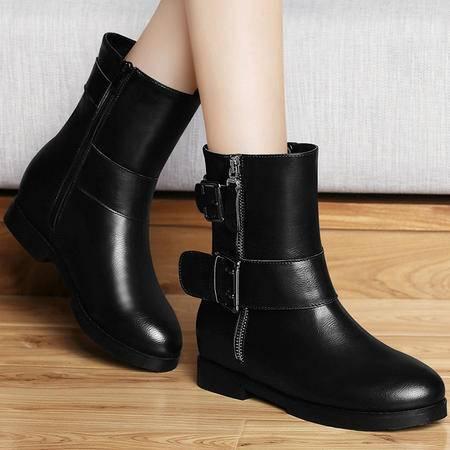 百年纪念短靴秋季新款英伦风马丁靴内增高女靴子厚底短筒靴子