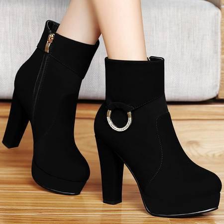 百年纪念秋季粗跟高跟短靴时尚水钻马丁靴厚底防水台短筒单靴女靴子