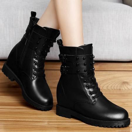 百年纪念秋冬季内增高平跟马丁靴女单靴休闲短靴潮女靴子铆钉短筒女鞋