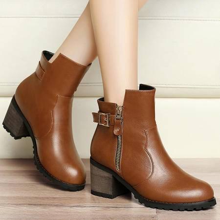 百年纪念秋季女靴单靴马丁靴女短靴短筒粗跟高跟裸靴及踝靴