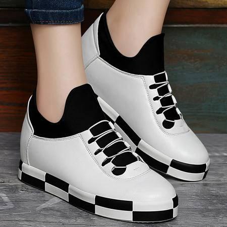 百年纪念秋季新款运动鞋内增高休闲女鞋圆头平底系带厚底单鞋