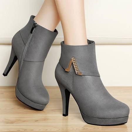 百年纪念短靴秋季英伦马丁靴高跟鞋短筒靴防水台及踝靴时装靴水钻女靴子
