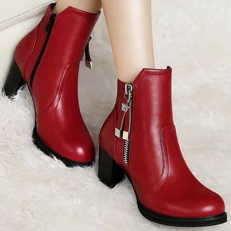 百年纪念秋冬季新款粗跟马丁靴防水台短靴英伦短筒靴子高跟鞋高帮女鞋