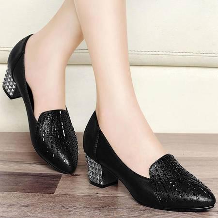 百年纪念秋冬粗跟单鞋水钻高跟鞋女工作鞋尖头浅口鞋女鞋低帮鞋