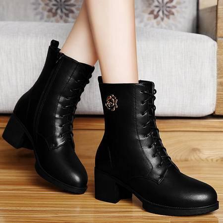百年纪念短筒马丁靴秋冬厚底防水台短靴粗跟女靴子高跟女鞋高帮鞋