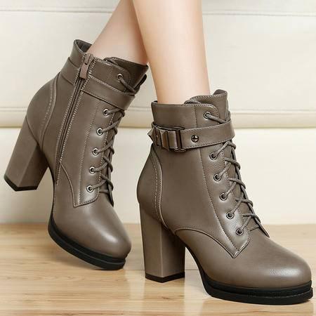 百年纪念秋冬季新款英伦风短筒靴子马丁靴潮女防水台短靴粗跟高跟鞋