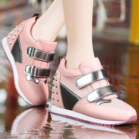莫蕾蔻蕾秋冬时尚运动鞋厚底内增高女鞋铆钉休闲鞋平底松糕女单鞋