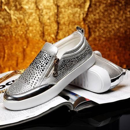 莫蕾蔻蕾秋季厚底水钻平底鞋包头乐福鞋单鞋女鞋潮鞋套脚懒人鞋
