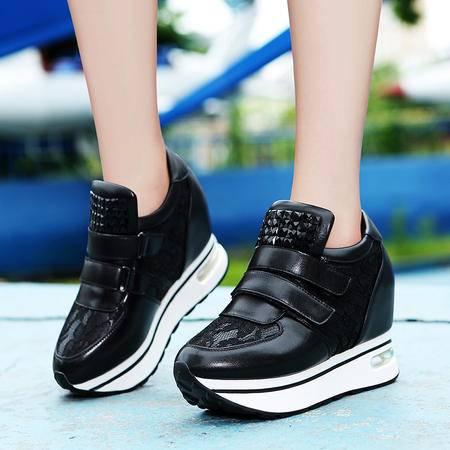 莫蕾蔻蕾秋季单鞋女内增高厚底气垫鞋运动鞋时尚休闲鞋魔术贴女鞋
