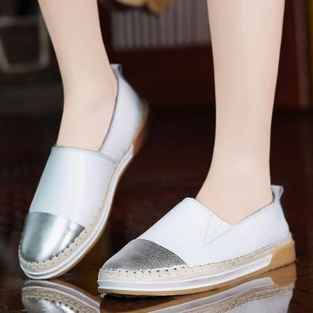 莫蕾蔻蕾秋季渔夫鞋乐福鞋真皮厚底平底休闲鞋懒人鞋单鞋女鞋