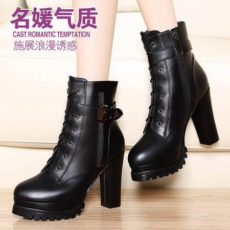 莫蕾蔻蕾秋冬粗跟防水台女靴子系带皮扣高跟鞋短筒马丁靴短靴女鞋