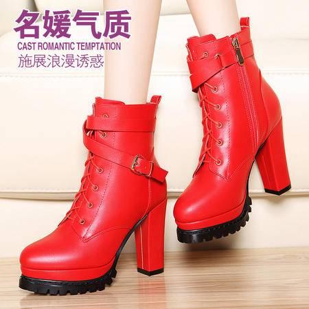 莫蕾蔻蕾秋冬英伦女靴子短筒马丁靴粗跟短靴系带皮扣防水台高跟女鞋