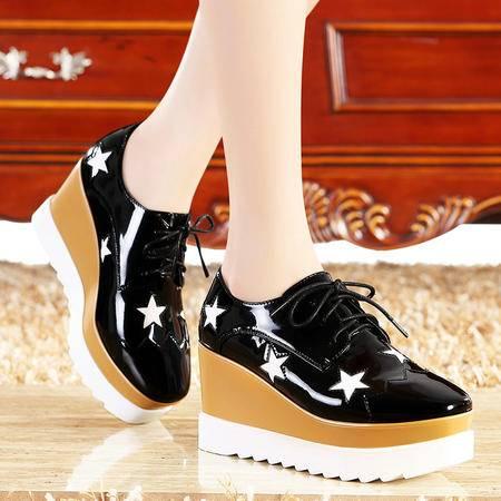 莫蕾蔻蕾春秋复古系带休闲厚底松糕鞋坡跟单鞋高跟增高女鞋星星鞋
