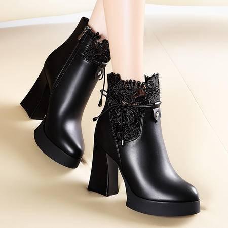 莫蕾蔻蕾秋冬时尚蕾丝保暖女鞋高跟女靴子粗跟短筒马丁靴防水台