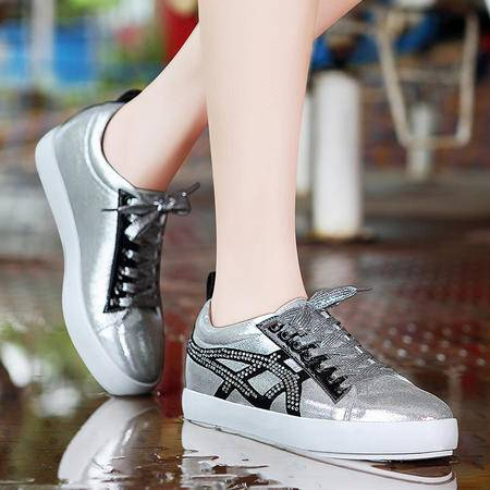 莫蕾蔻蕾秋季韩版休闲鞋水钻潮流女鞋系带板鞋厚底平底鞋单鞋