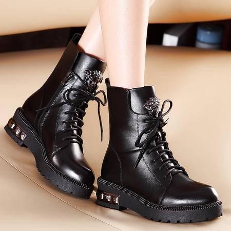 莫蕾蔻蕾秋冬新款休闲女鞋短靴系带真皮女靴子英伦马丁靴短筒靴