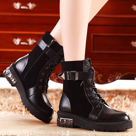莫蕾蔻蕾秋冬新款短筒时尚皮带扣女靴子厚底平底马丁靴加绒保暖女鞋