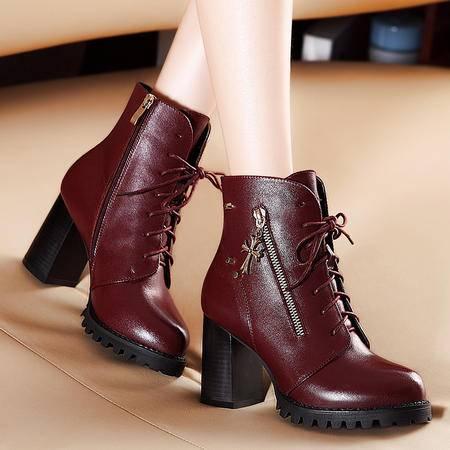 莫蕾蔻蕾秋冬高跟短靴粗跟短筒防水台加绒保暖系带女靴子马丁靴女真皮靴
