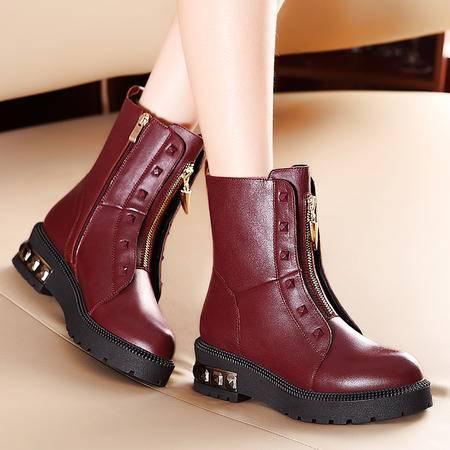 莫蕾蔻蕾秋冬新款女靴子平底真皮中筒靴防滑马丁靴铆钉女鞋