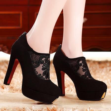 莫蕾蔻蕾春秋新款防水台罗马性感单鞋蕾丝高跟粗跟低帮女鞋