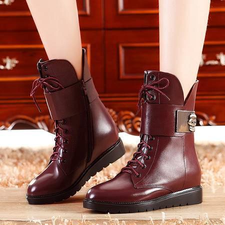 莫蕾蔻蕾秋冬新款欧美女鞋平底女靴真皮短靴中筒靴厚底马丁靴
