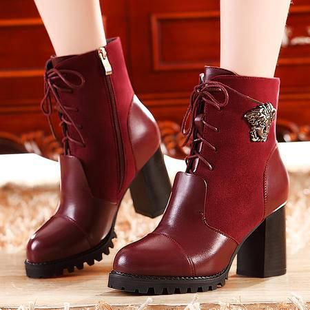 莫蕾蔻蕾秋冬英伦休闲加绒保暖短靴粗跟高跟女靴防水台马丁靴