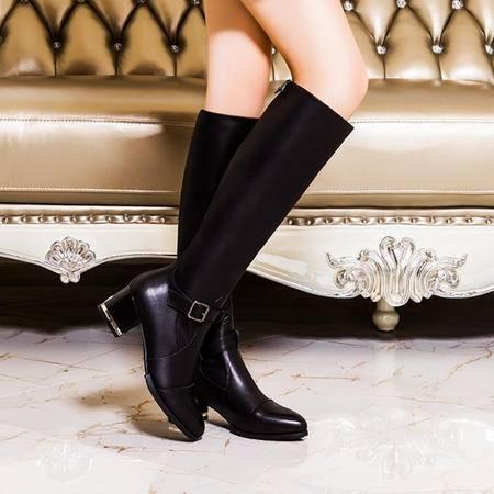 莫蕾蔻蕾秋冬粗跟高筒靴子尖头高跟长靴女休闲皮带扣女靴套筒裸靴