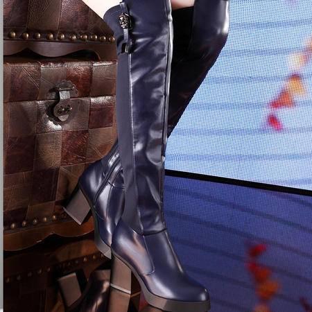 莫蕾蔻蕾秋冬高跟粗跟骑士靴弹力靴时装女靴过膝长靴加绒瘦腿长筒靴