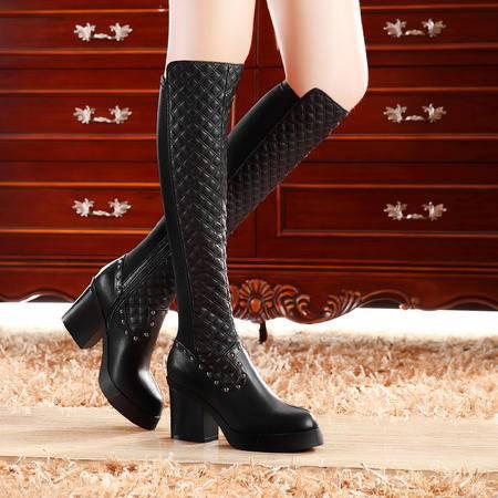 莫蕾蔻蕾秋冬欧美厚底女靴长筒靴粗跟靴子高跟过膝长靴女真皮弹力