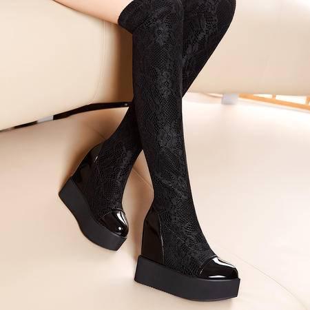 莫蕾蔻蕾秋季高跟过膝长筒靴韩版松糕底内增高女靴套筒休闲靴子