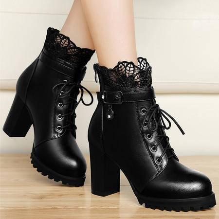 百年纪念高跟女靴秋冬粗跟短靴蕾丝短筒靴欧美性感裸靴防水台加绒女鞋