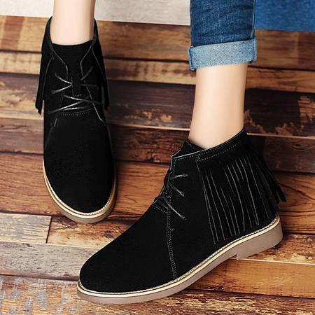 百年纪念秋冬真皮平底女靴内增高短靴系带马丁靴裸靴流苏女鞋子