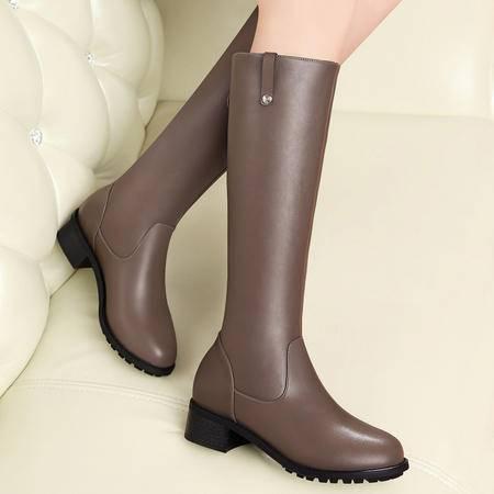 百年纪念秋冬防水台女靴子中跟方跟高筒靴铆钉长筒靴骑士靴长靴