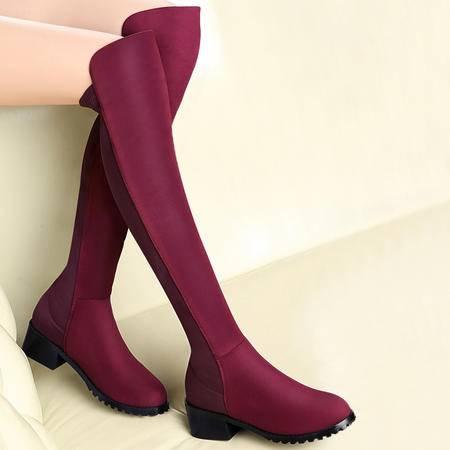 百年纪念女靴秋冬新款显瘦过膝长靴欧美粗跟骑士靴加绒保暖弹力女鞋
