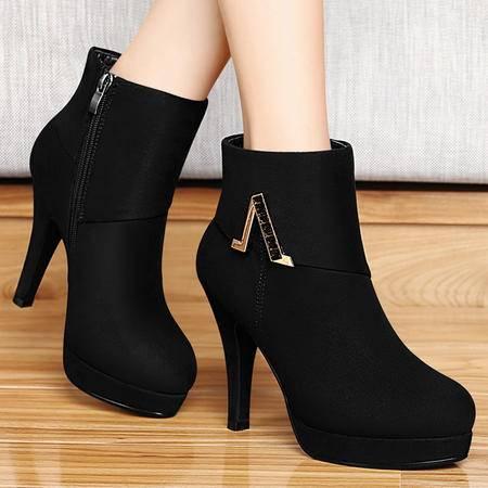 百年纪念秋季新款欧美潮女鞋时装鞋女靴细跟高跟短靴防水台圆头裸靴