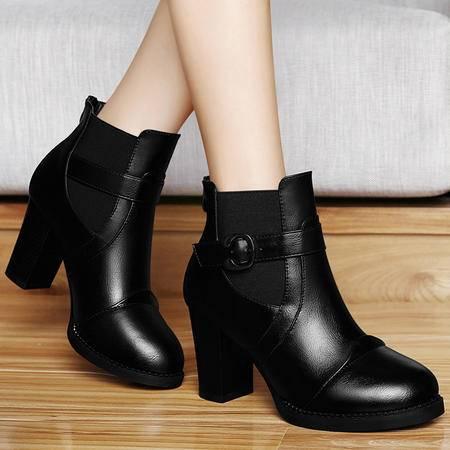 百年纪念秋冬粗跟短靴马丁靴高跟女靴子圆头英伦风女鞋子加绒靴子