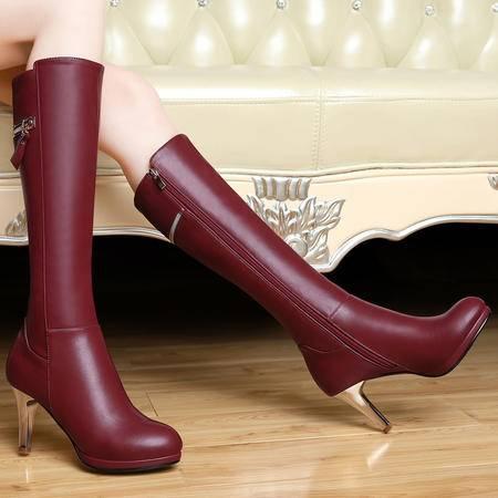 百年纪念女靴秋冬新款细跟靴圆头防水台中筒靴高跟骑士靴女鞋