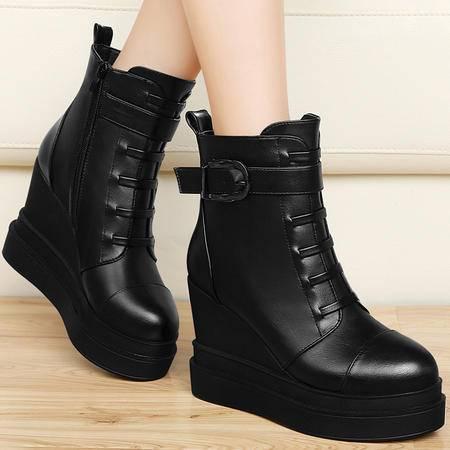 百年纪念秋冬新款欧美厚底女鞋马丁靴坡跟女靴平底短靴加绒保暖短筒