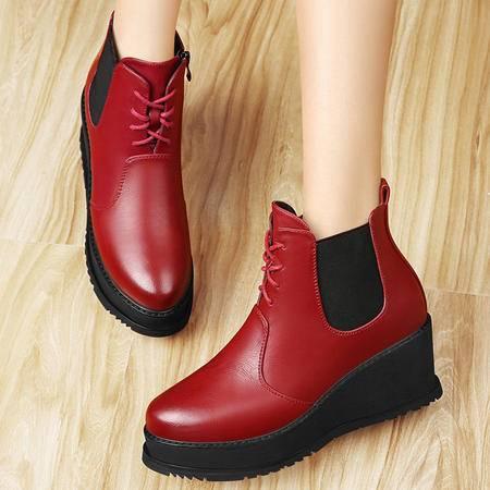 百年纪念秋冬新款女靴厚底短靴坡跟松紧带系带女鞋平底马丁靴短筒及踝靴