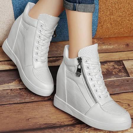 百年纪念秋冬加绒保暖高帮鞋韩版隐形内增高女鞋系带休闲鞋运动棉鞋