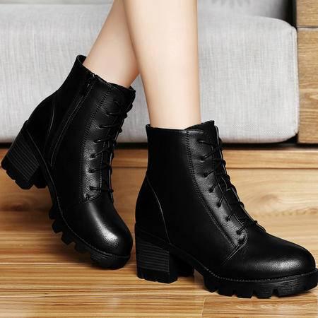 百年纪念秋冬新款圆头厚底防水台女短靴女鞋粗跟高跟马丁靴侧拉链及裸靴