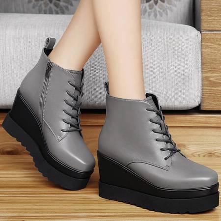 百年纪念秋冬新款坡跟短靴英伦风马丁靴厚底防水台短筒靴平底女靴子