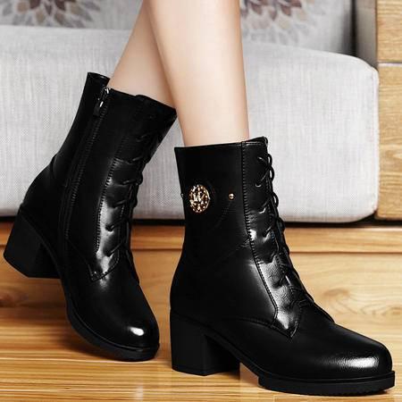 古奇天伦秋冬新品时尚潮流粗跟短筒女靴英伦高跟女鞋圆头防水台马丁靴
